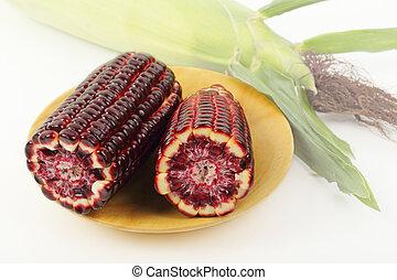 Purple corn isolated on wooden plate. - Fresh purple corn...