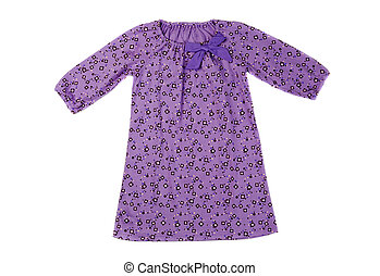 Purple cotton baby dress. Isolate on white.