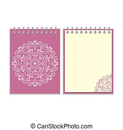 Purple cover notebook with round floral pattern