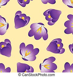 Purple Crocus Flower on Beige Ivory Background