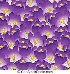 Purple Crocus Flower Seamless Background.