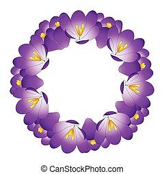 Purple Crocus Flower Wreath