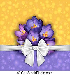 Purple crocus flowers with bow