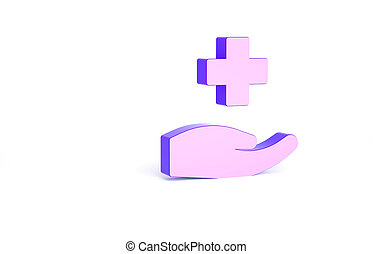 Purple Cross hospital medical icon isolated on white background. First aid. Diagnostics symbol. Medicine and pharmacy sign. Minimalism concept. 3d illustration 3D render