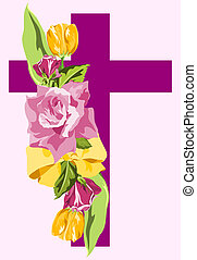 Purple cross with spray of lavender roses and yellow tulips.