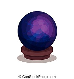 Purple crystal ball on wooden stand. Sphere for divination and magic ritual. Flat vector for children book or mobile game