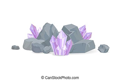Purple Crystals Among Stones Realistic Minerals