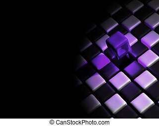 Purple cube alone above many cubes