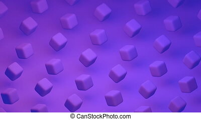 Purple cubes moving in Abstract. 3d loop animation video in 4k Ultra HD
