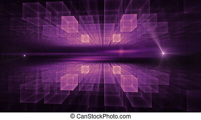 Purple Cubic Geometrical Horizon with Flare - Purple cubic...