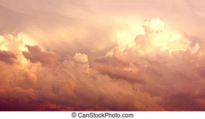 Purple Cumulonimbus Clouds in Sky After Storm - Large Pink...