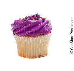Purple Cupcake with sprinkles on white