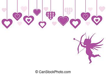 Purple Cupid Valentine Hearts