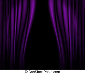 Purple curtains on stage.