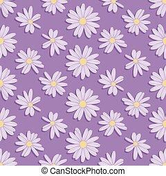 Purple Daisy Flower Seamless Vector Pattern