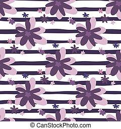 Purple daisy flowers seamless doodle patttern. White ...