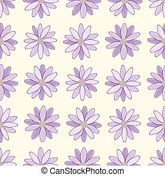 Purple Daisy Flowers Vector Repeat Pattern