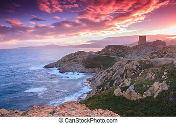 Purple dawn, Corsica - The sky lights up purple and pink...