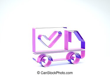 Purple Delivery truck with check mark icon isolated on white background. 3d illustration 3D render