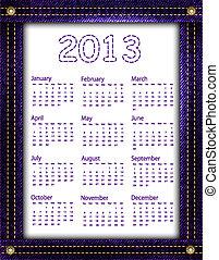 Purple denim calendar 2013