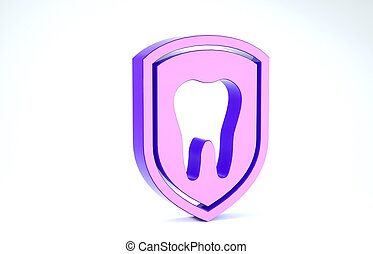 Purple Dental protection icon isolated on white background. Tooth on shield logo icon. 3d illustration 3D render