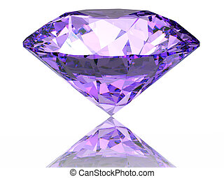 Purple diamond on  white background  with reflection