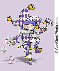 Cartoon illustration of a dancing jester in purple and white diamond outfit. Enjoy!!!