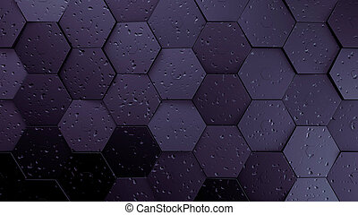purple displaces hexagons background.3d illustration render.
