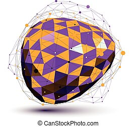 Purple distorted 3D abstract object with lines and dots isolated