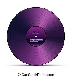 Purple DJ vinyl record plate for music player isolated on white background. Vector design element.