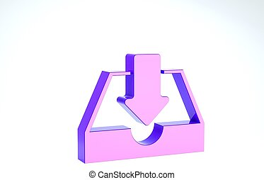 Purple Download inbox icon isolated on white background. 3d illustration 3D render