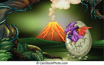 Purple dragon hatching egg in deep forest
