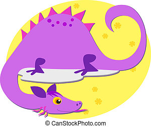 Purple Dragon with Floral Backgroun