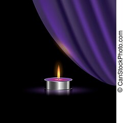purple drape and small candle - black background and the...