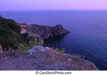 purple dusk under Fiolent sea