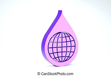 Purple Earth planet in water drop icon isolated on white background. World globe and water drop. Saving water and world environmental protection. 3d illustration 3D render