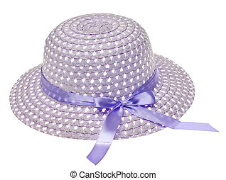 Purple Easter Bonnet Hat Isolated on White with a Clipping...