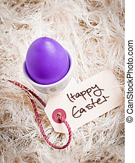 Purple Easter Egg Amidst Feathers