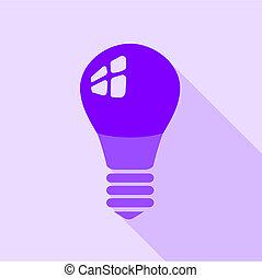 Purple electric bulb icon, flat style
