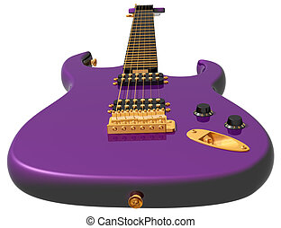 Isolated Illustration Of A Pink Electric Guitar Clipart
