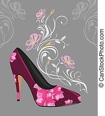 Purple elegant female shoe - Stylized purple elegant female...