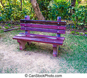 purple empty bench in the park