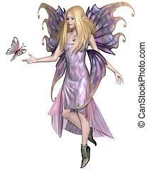 Purple Fairy with Butterfly - Pretty blonde fairy with...