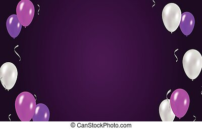 Purple festive background with balloons.
