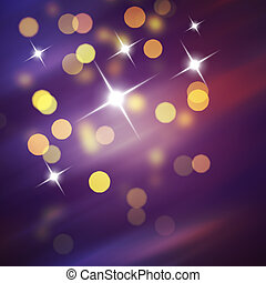 Purple Festive Christmas background. Abstract background with bokeh defocused lights and stars