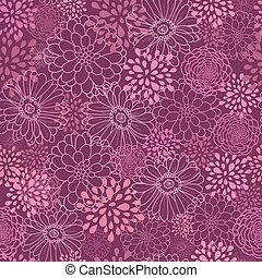 Purple field flowers seamless pattern background