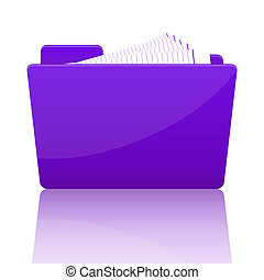 Purple file folder with paper