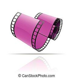 Purple film reel isolated on white