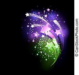 purple fireworks - fireworks purple and green on a black...