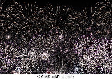 Purple Fireworks on Black background.